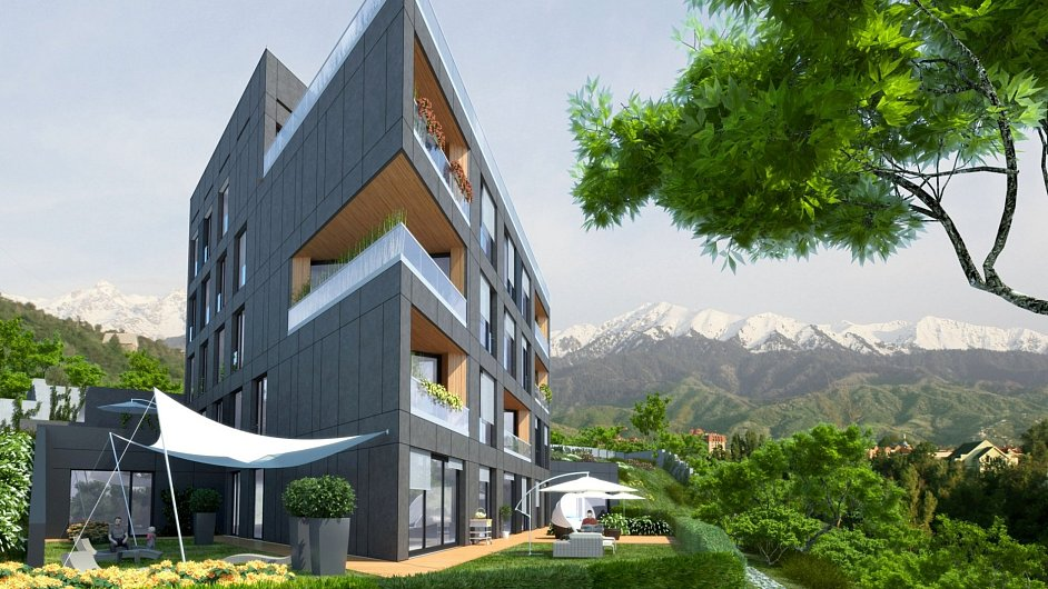 Vizualizace projektu Czech Terraces, který v Kazachstánu realizuje český developer Codeco.