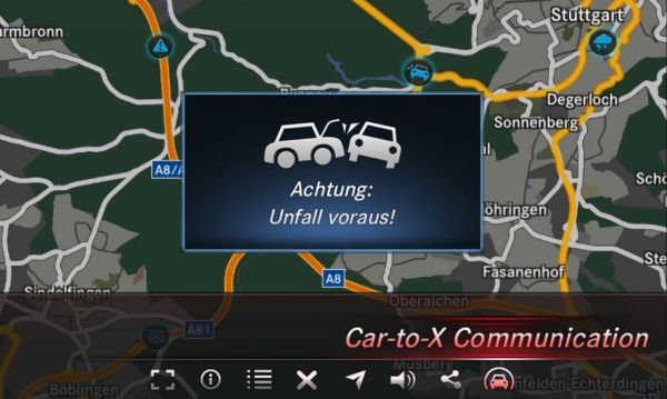Systém komunikace car-to-car ve vozech Mercedes-Benz