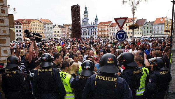 Demonstrace v �esk�ch Bud�jovic�ch