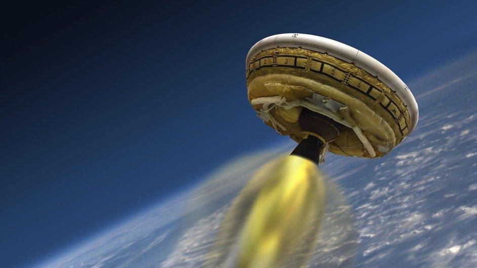 Vizualizace létajícího disku od NASA, který má jednou přenést člověka na Mars.