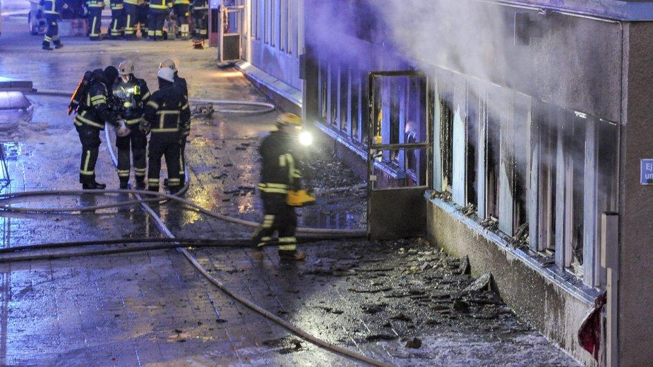 Vyhořelá mešita v Eskilstuně