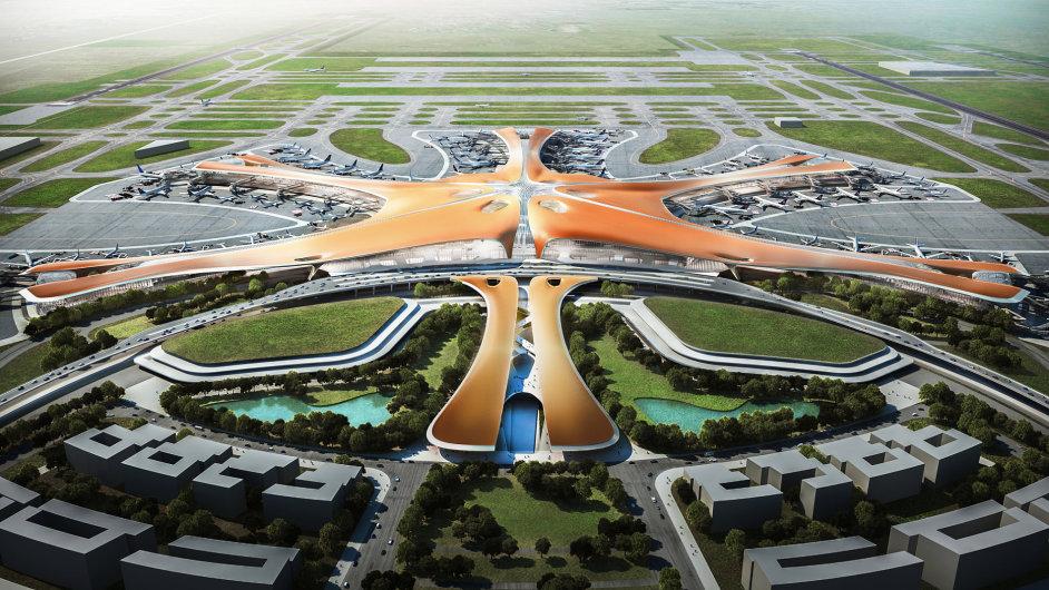 Vizualizace nového terminálu Mezinárodního letiště Ta-sing.