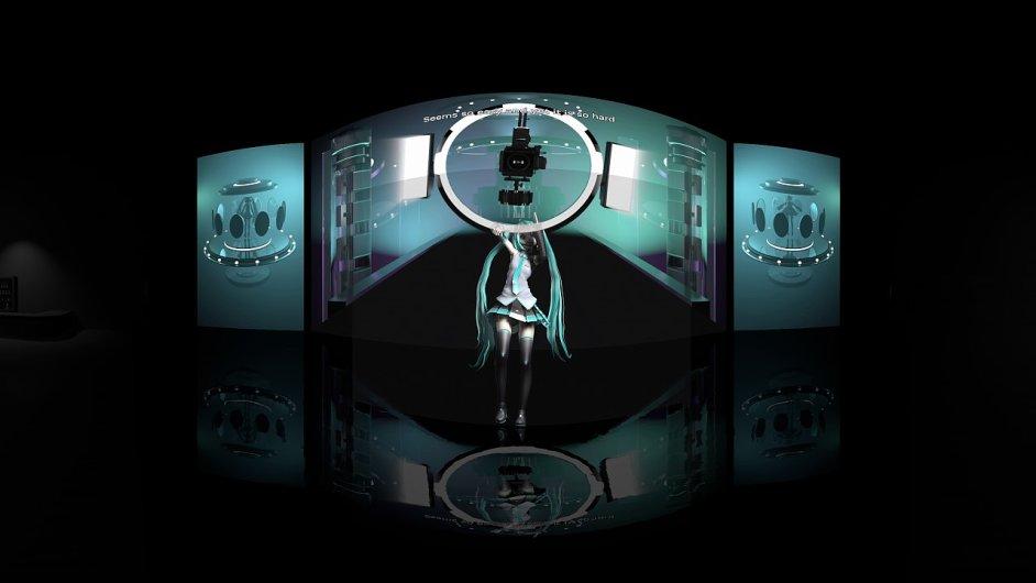 Snímek z videoklipu s virtuální zpěvačkou Hacune Miku.
