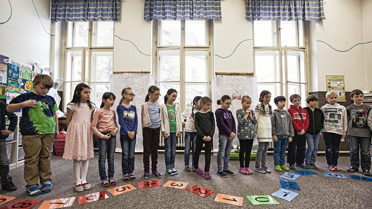 Žáci si stoupají na čísla, aby ohodnotili, jak se jim líbila matematika. Červená vyjadřuje špatné pocity, modrá naopak pozitivní.