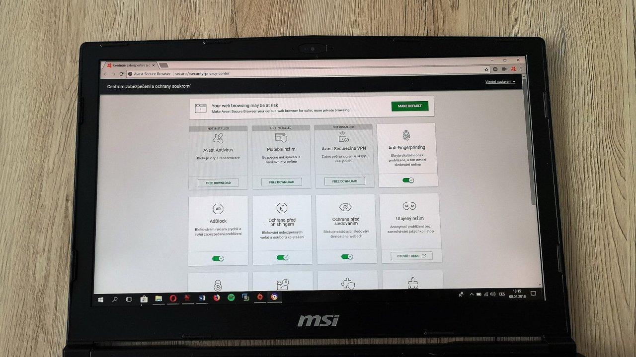 Možnosti nastavení prohlížeče Avast Secure Browser