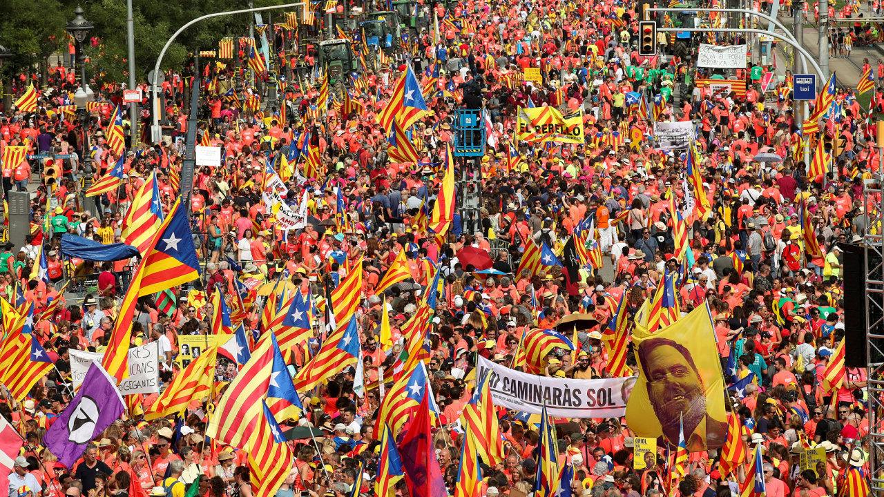 Demonstrace v Katalánsku.