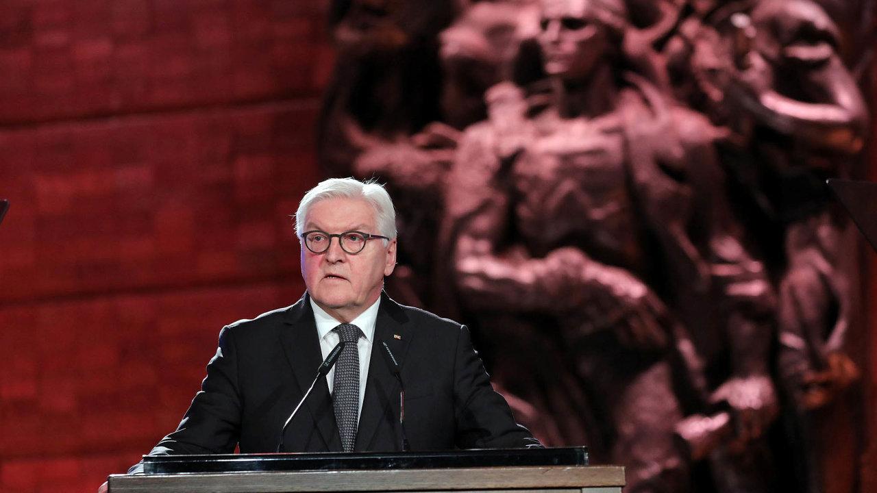 Frank-Walter Steinmeier při projevu vjeruzalémském památníku holokaustu Jad vašem.