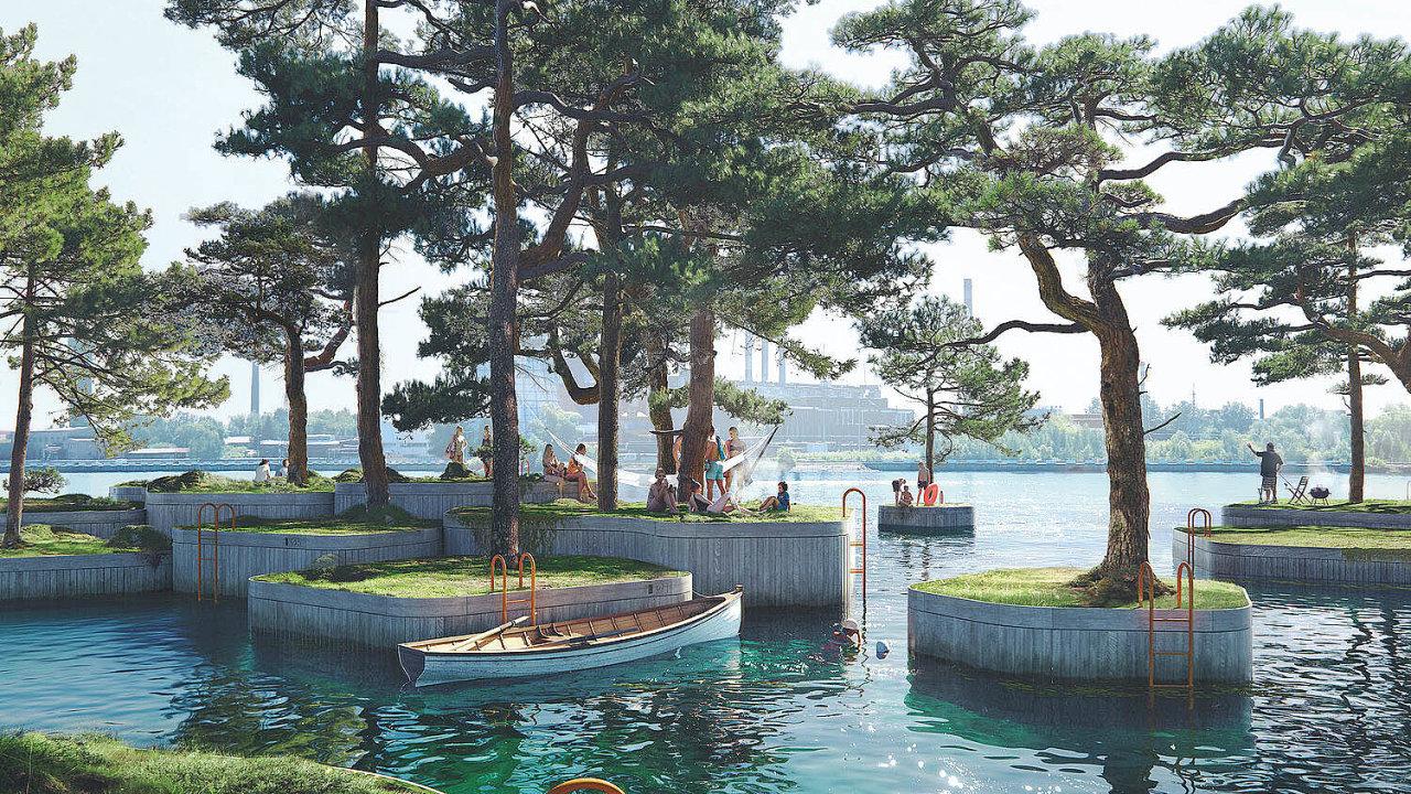Komplex umělých dřevěných ostrůvků svysazenou zelení, nanichž budete moci relaxovat či rybařit akolem kterých mají vyrůst iplovoucí sauny a kavárna.