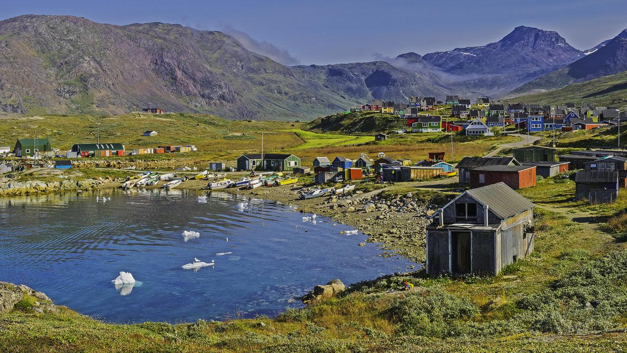 Beautiful fishing village on fjord. Narsaq