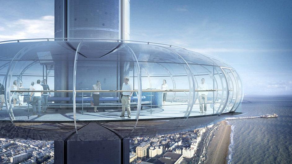 Rozhledna Brighton i360 vyveze návštěvníky v prosklené kapsli