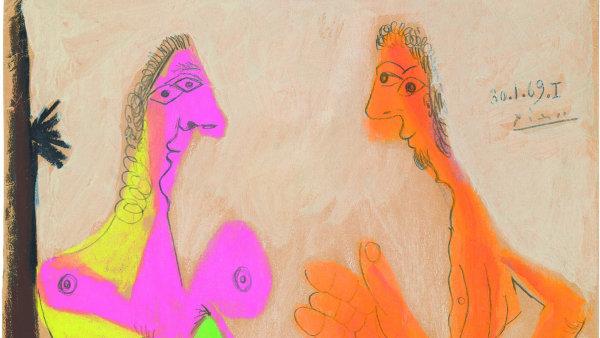 Pablo Picasso: Akt stojícího muže a ženy, 1969.
