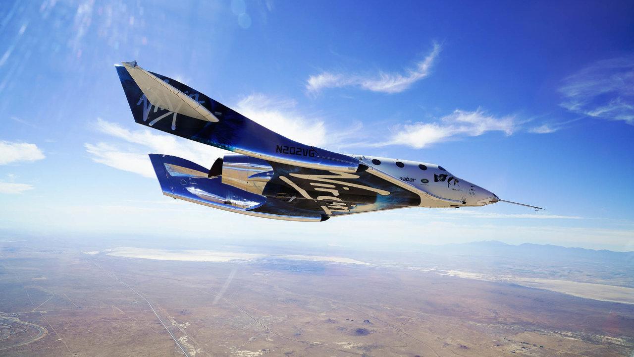 Virgin Galactic úspěšně pokračuje vtestech před zahájením komerčních letů dovesmíru. Raketoplán VSS Unity pojme až šest turistů.