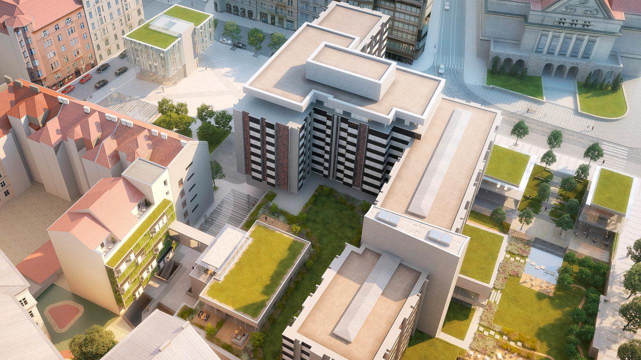 Projekt Staroměstská brána. Za2,5 miliardy korun má proběhnout rekonstrukce bývalého hotelu InterContinental. Plánovaná novostavba je na obrázku vlevo nahoře.