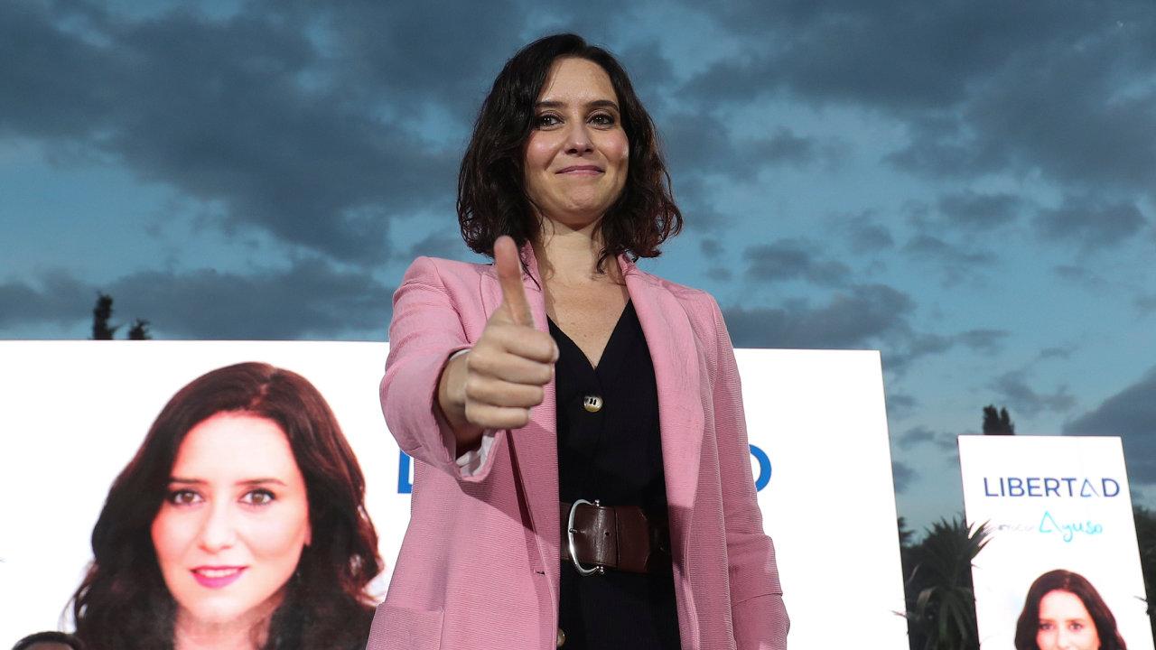 OIsabel Díazové Ayusové, vítězce regionálních voleb vMadridu, se veŠpanělsku spekuluje jako omožné první ženě, která by mohla usednout dopremiérského křesla.