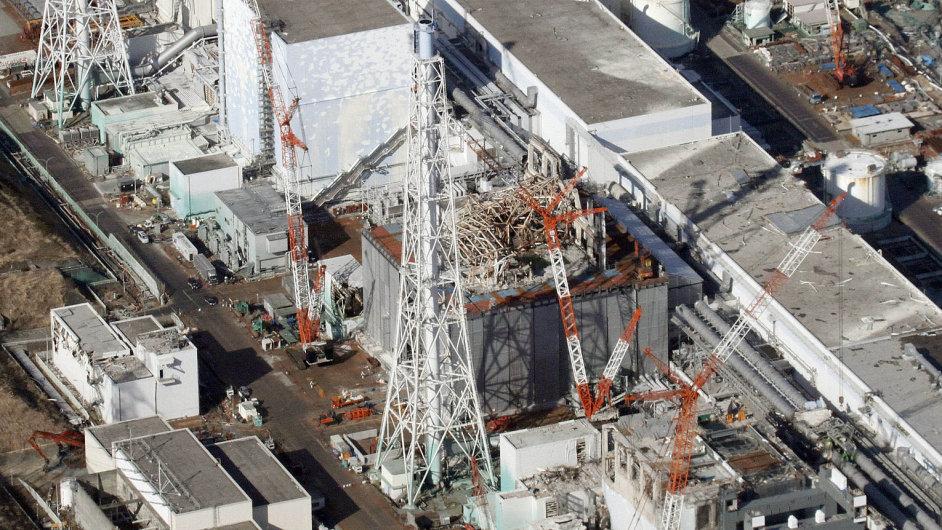Pohled na jadernou elektrárnu ve Fukušimě