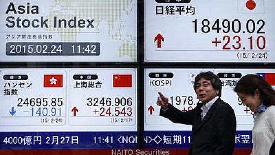 Index Nikkei poprvé po 15 letech překonal hranici 19 000 bodů - Ilustrační foto.