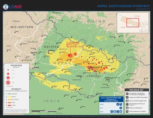 Mapa otřesů nepálského zemětřesení