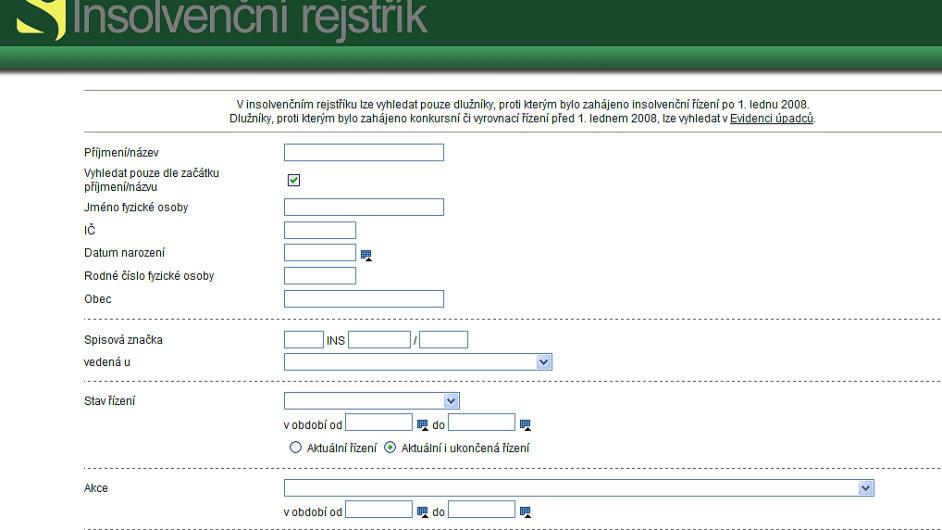 Printscreen webové aplikace insolvenčního rejstříku.