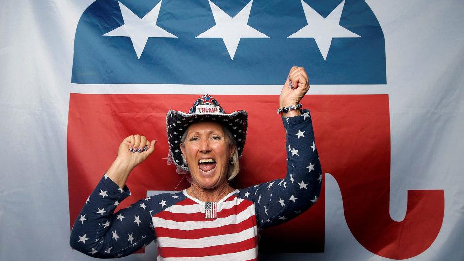 Delegátka z červencového sjezdu Republikánské strany v americkém Clevelandu.