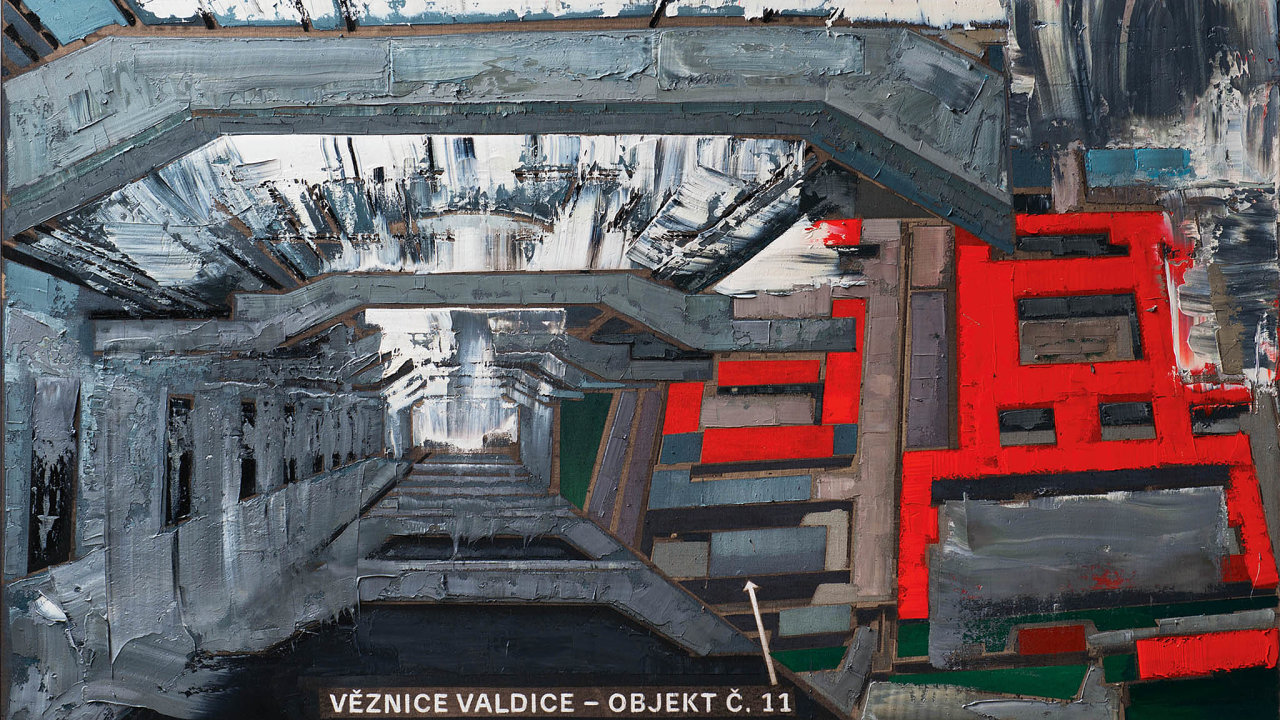 Olejomalba Valdice (200 × 340 cm) zachycuje žalář, kde byl vězněn básník Ivan Martin Jirous.