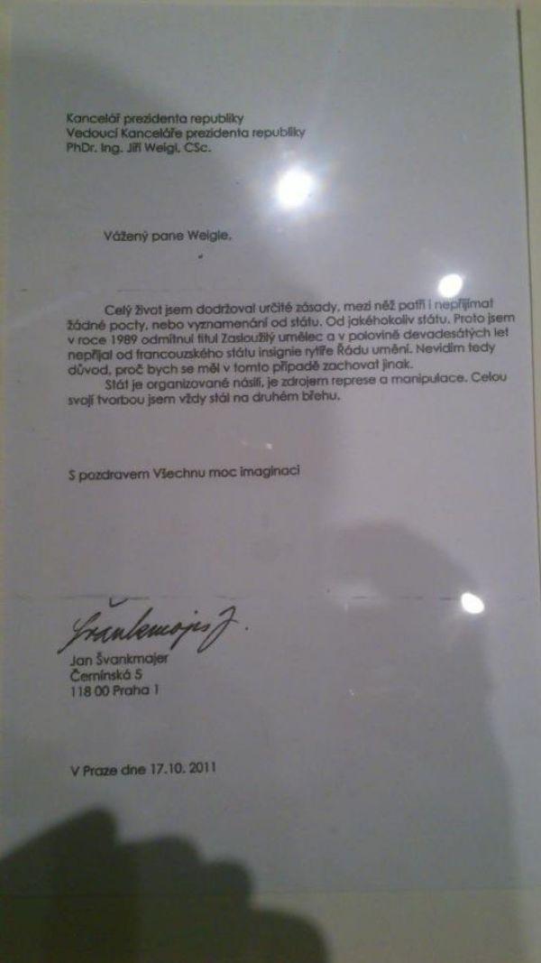 Dopis Jana Švankmajera