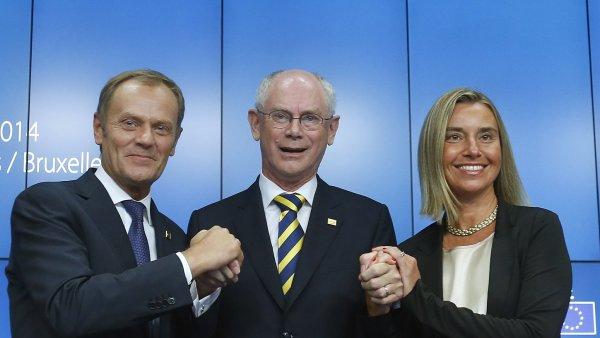 Donald Tusk, Herman Van Rompuy a Federica Mogheriniová