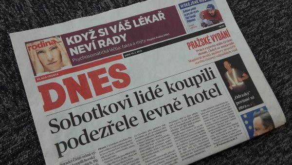 Článek MF Dnes o hotelu Kladenka na titulní straně vydání z 19. února 2016