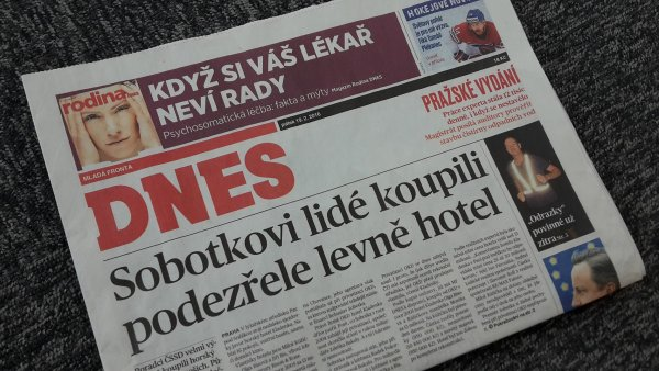 �l�nek MF Dnes o hotelu Kladenka na tituln� stran� vyd�n� z 19. �nora 2016