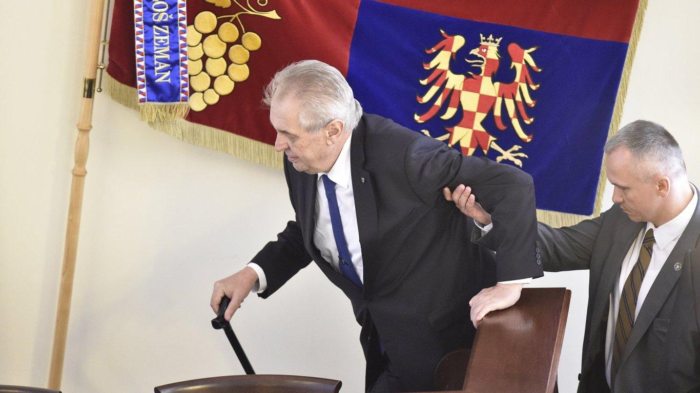 Prezident Miloš Zeman při návštěvě krajského úřadu v Brně.