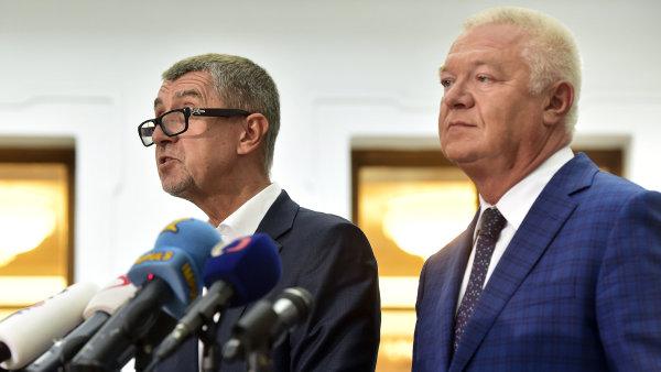 Předseda hnutí ANO Andrej Babiš a první místopředseda ANO Jaroslav Faltýnek.