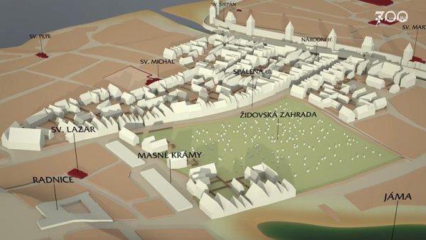 Místo divadel a polikliniky Židovská zahrada. Tak ve středověku vypadalo Nové Město pražské.