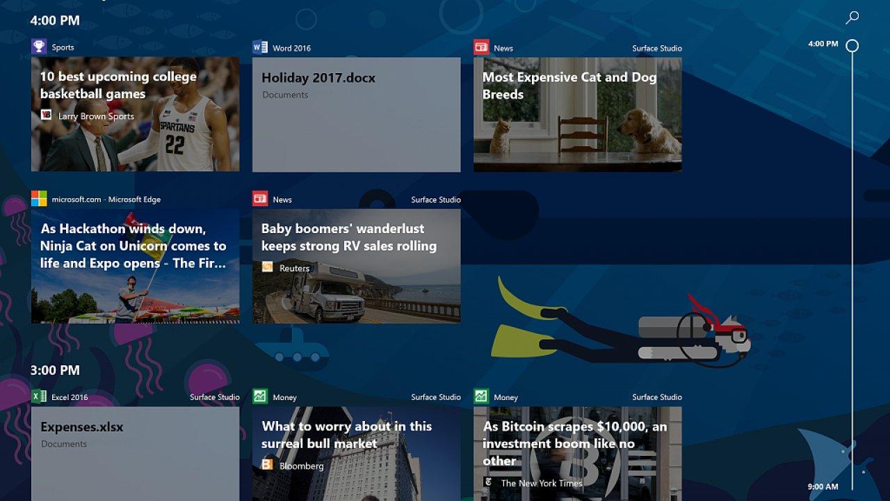 Microsoft má vánoční dárek pro nadšence, testovací verzi Windows 10 snovou funkcí Timeline.