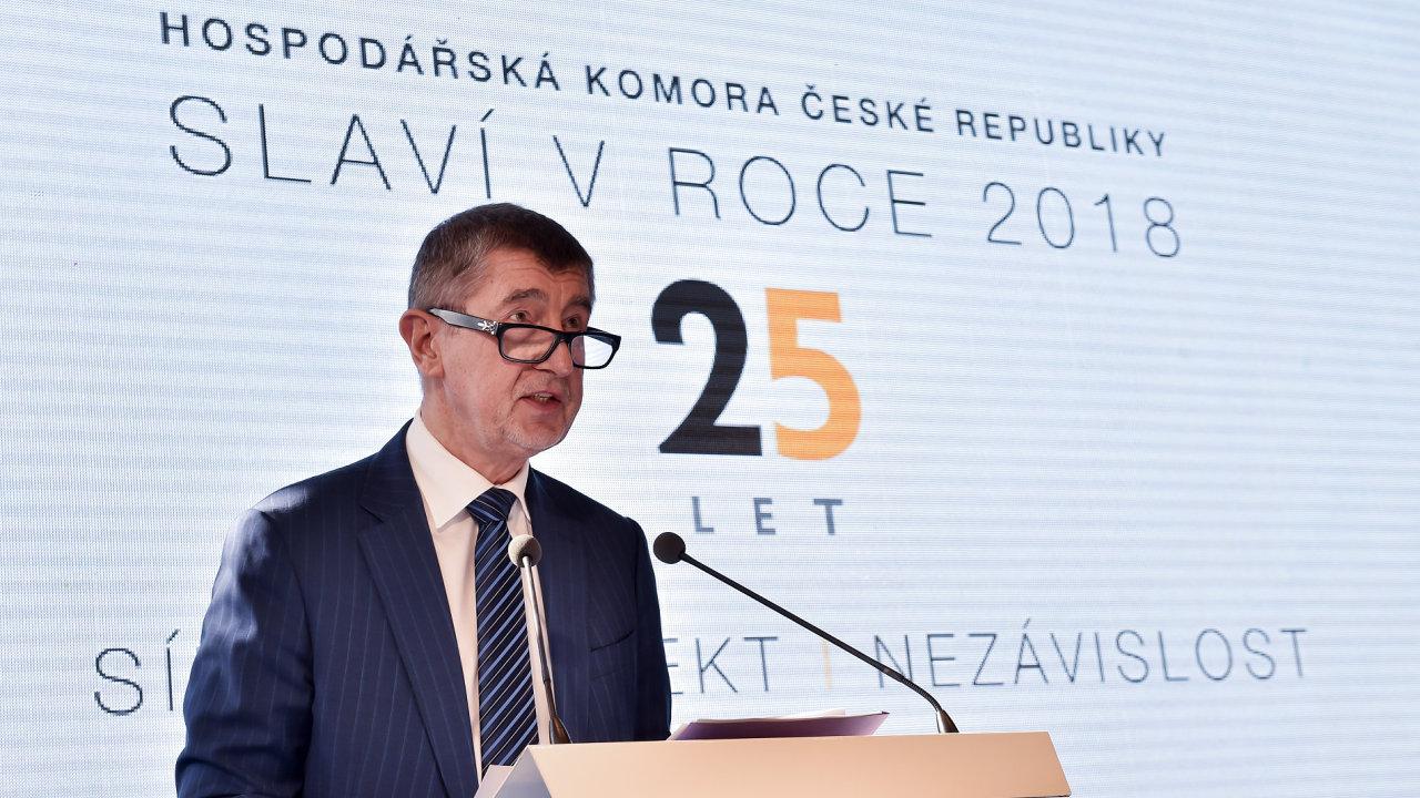Andrej Babiš na oslavě 25. výročí Hospodářské komory.
