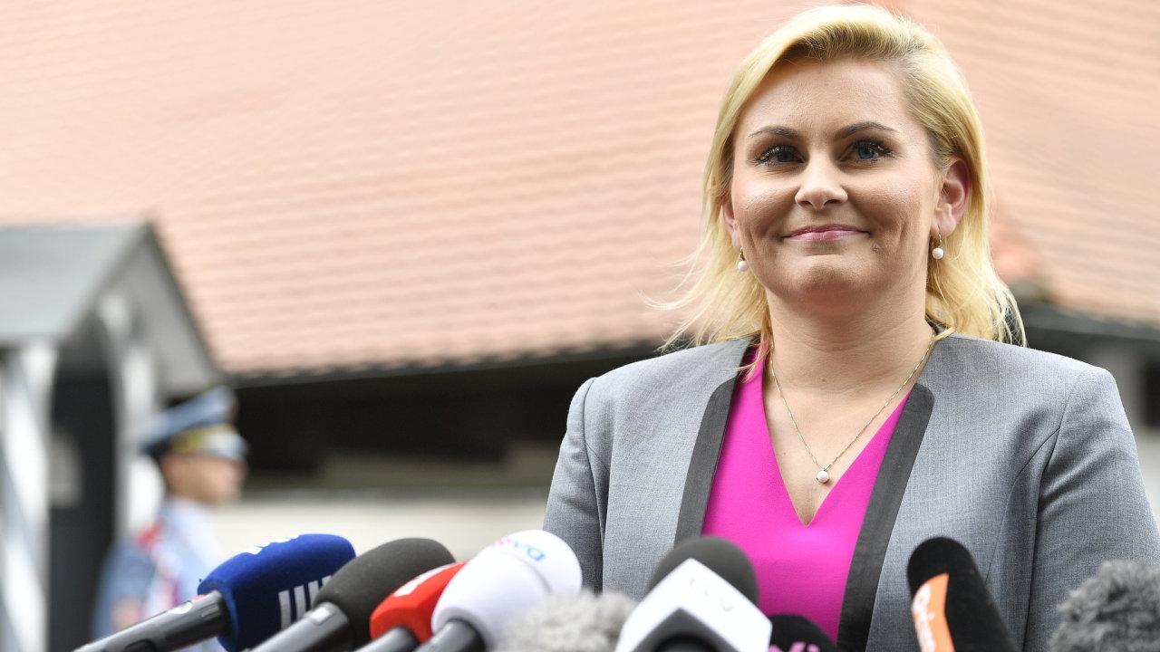 Kandidátka na ministryni spravedlnosti za ANO Taťána Malá po setkání s prezidentem Milošem Zemanem.