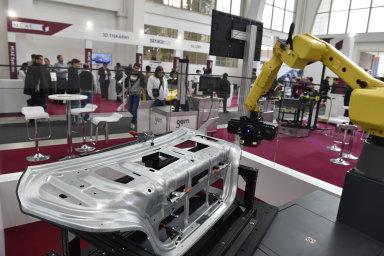 Strojírenský veletrh 2018 v Brně. Na snímku je vysokorychlostní 3D skener ATOS 5 v expozici společnosti MCAE.