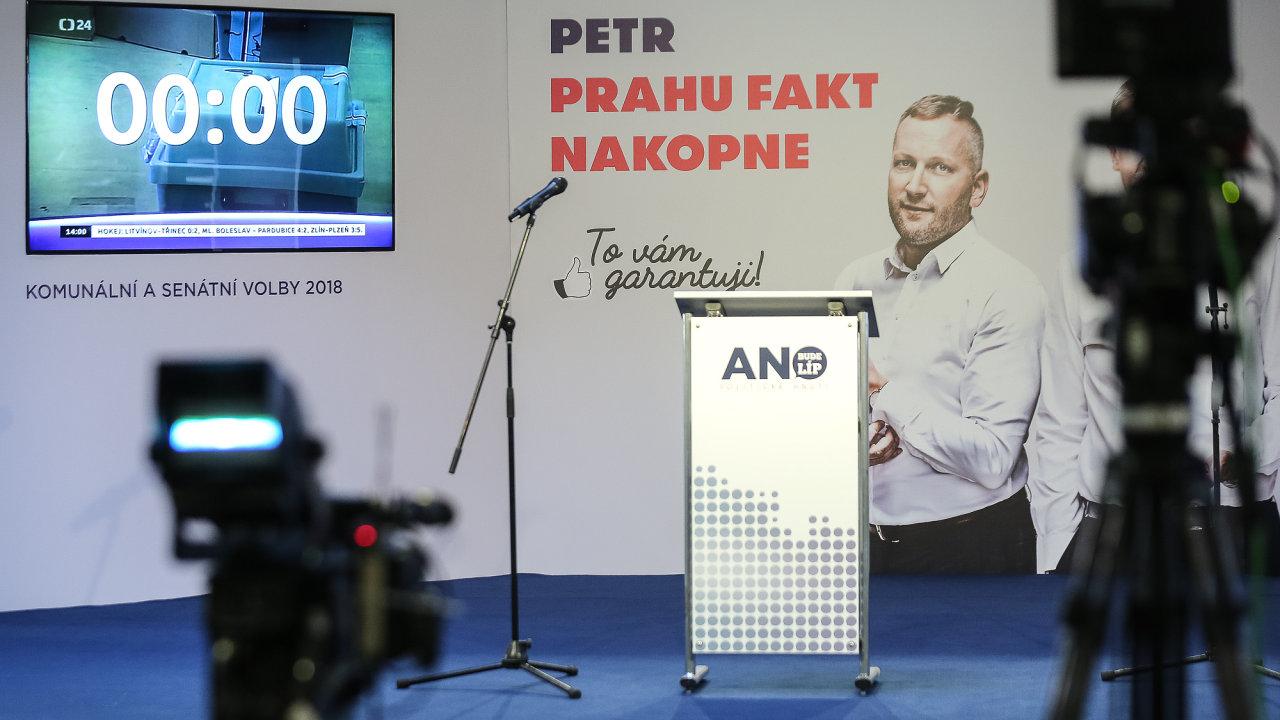 Volební štáb hnutí ANO.