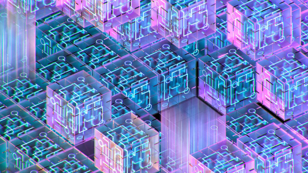 Trojrozměrné provedení kvantových bitů.