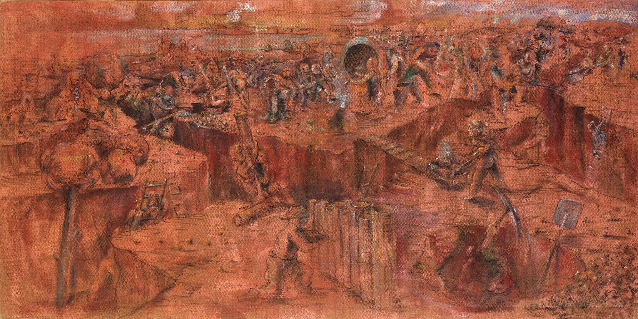 Plátno Dělníci / Stavitelé katedrál namaloval Martin Mainer počátkem devadesátých let minulého století.
