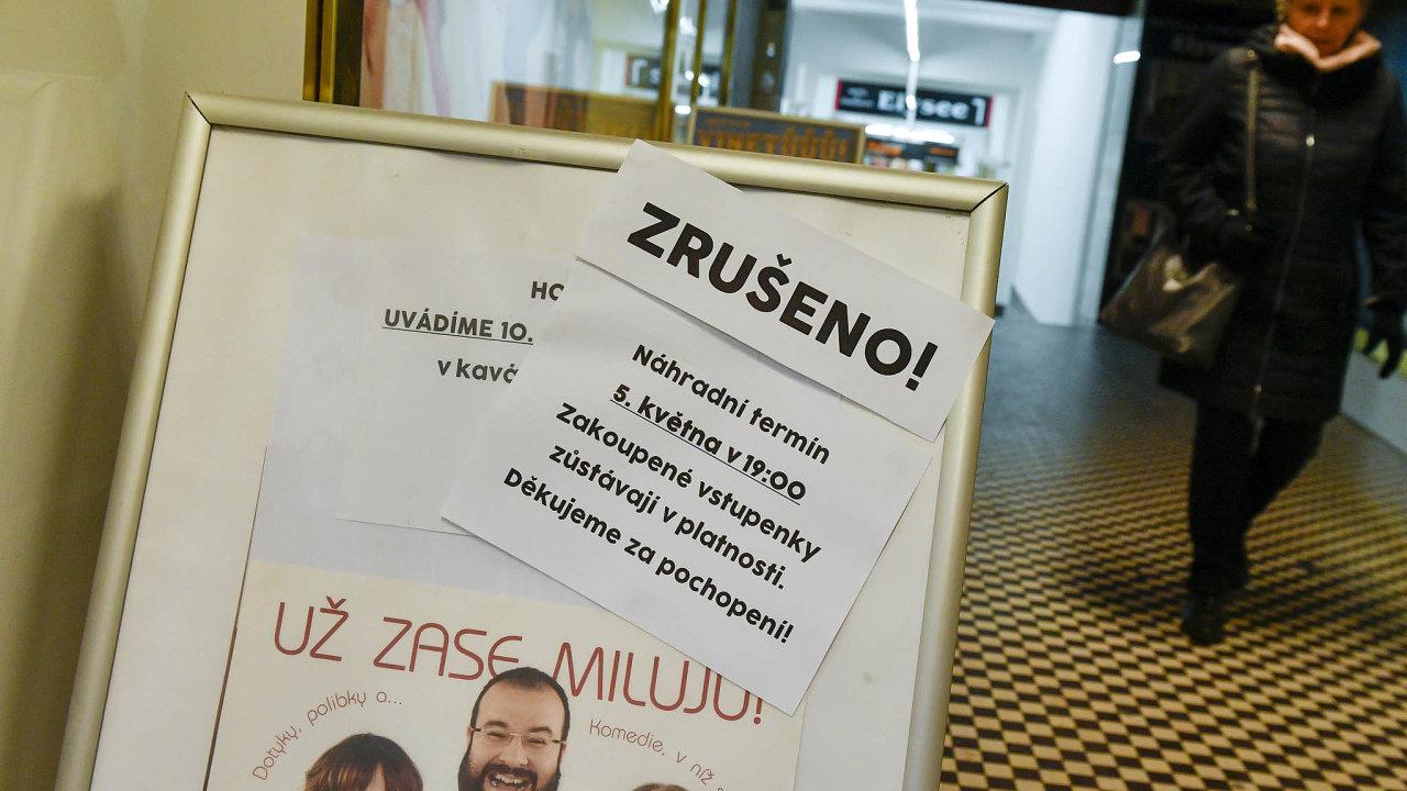 Cedule u Divadla Radka Brzobohatého v Praze upozorňující na zrušené představení.