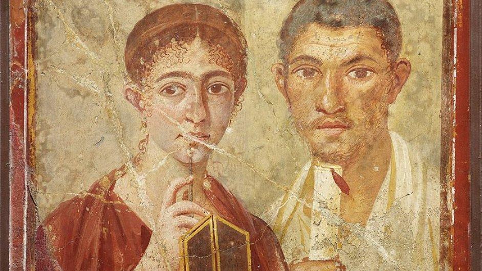 Freska pekaře Terentia Nea s manželkou z výstavy o Pompejích v Londýně.