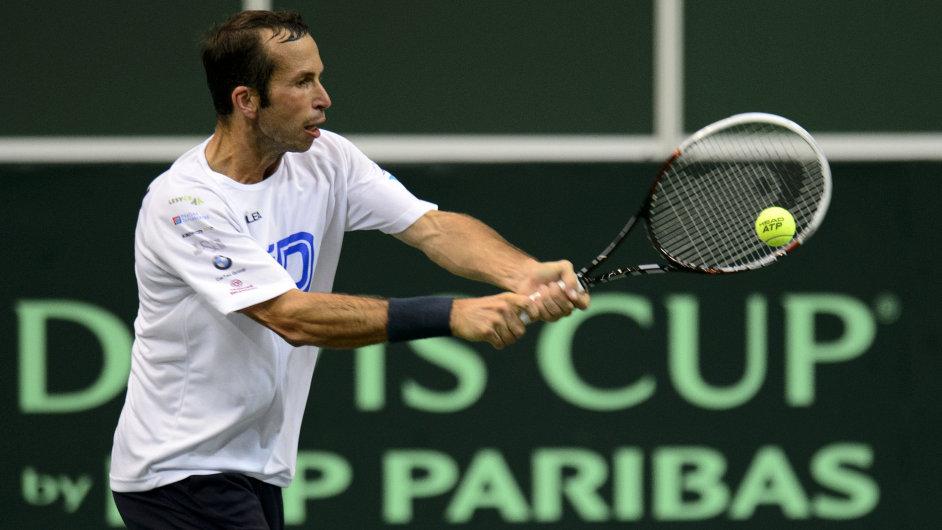 Radek Štěpánek při tréninku na Davis Cup