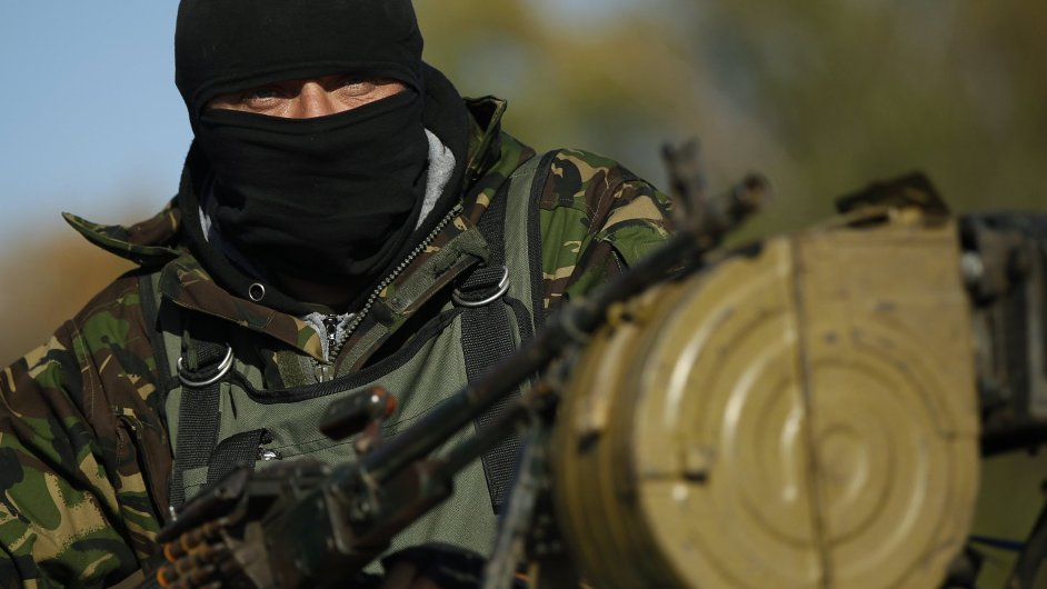Ukrajinský voják u města Debalceve