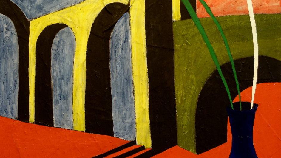 Jiří Georg Dokoupil: Bez názvu (Triptych – pravá část), 1981, kombinovaná technika na plátně a mušelínu, 90 x 70 cm