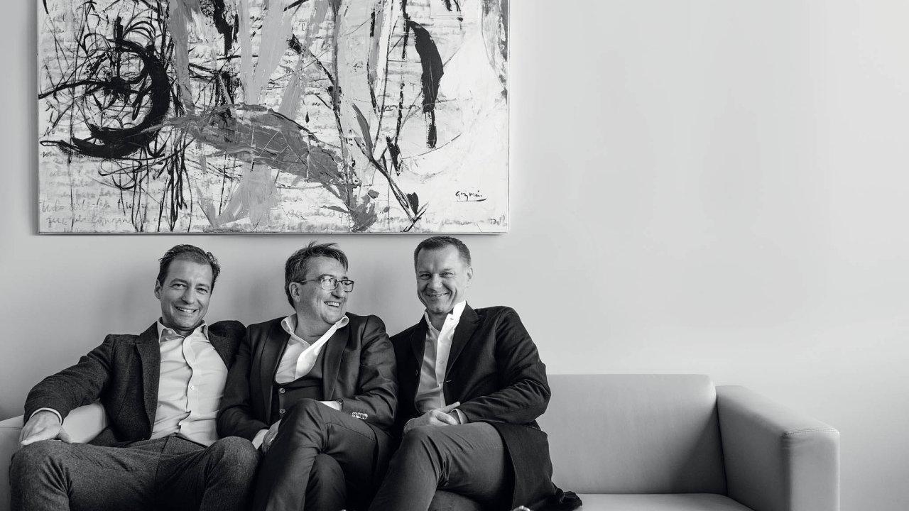 (Zleva) Jan Sýkora, Xavier de Roquemaurel, Harry Guhl