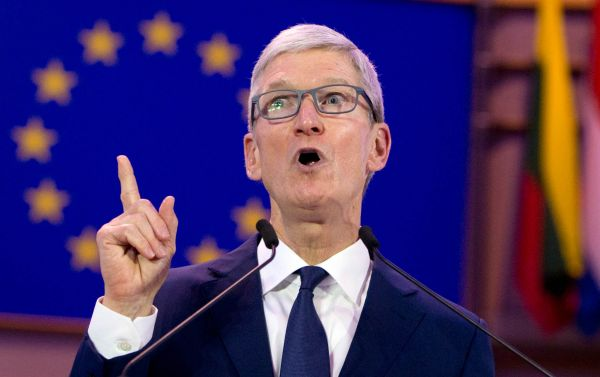 Apple CEO Tim Cook speaks during a data privacy conference at the European Parliament in Brussels