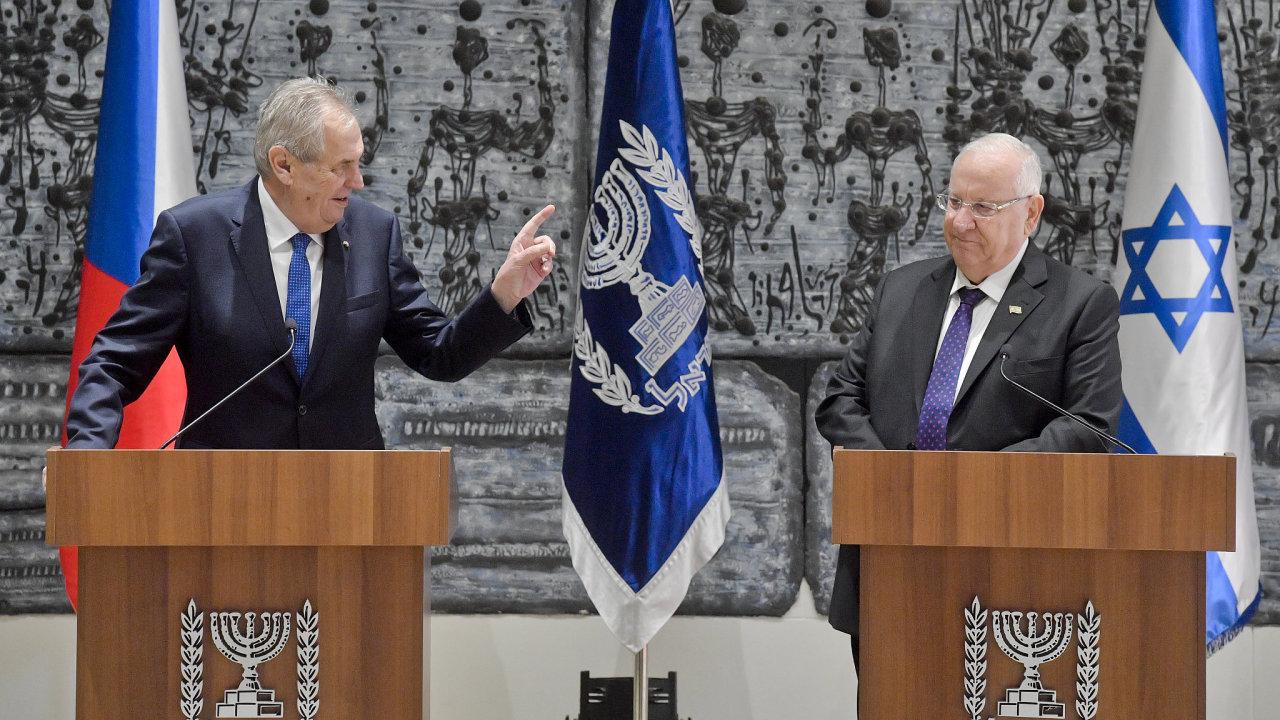 Prezident Miloš Zeman a jeho izraelský protějšek Reuven Rivlin.