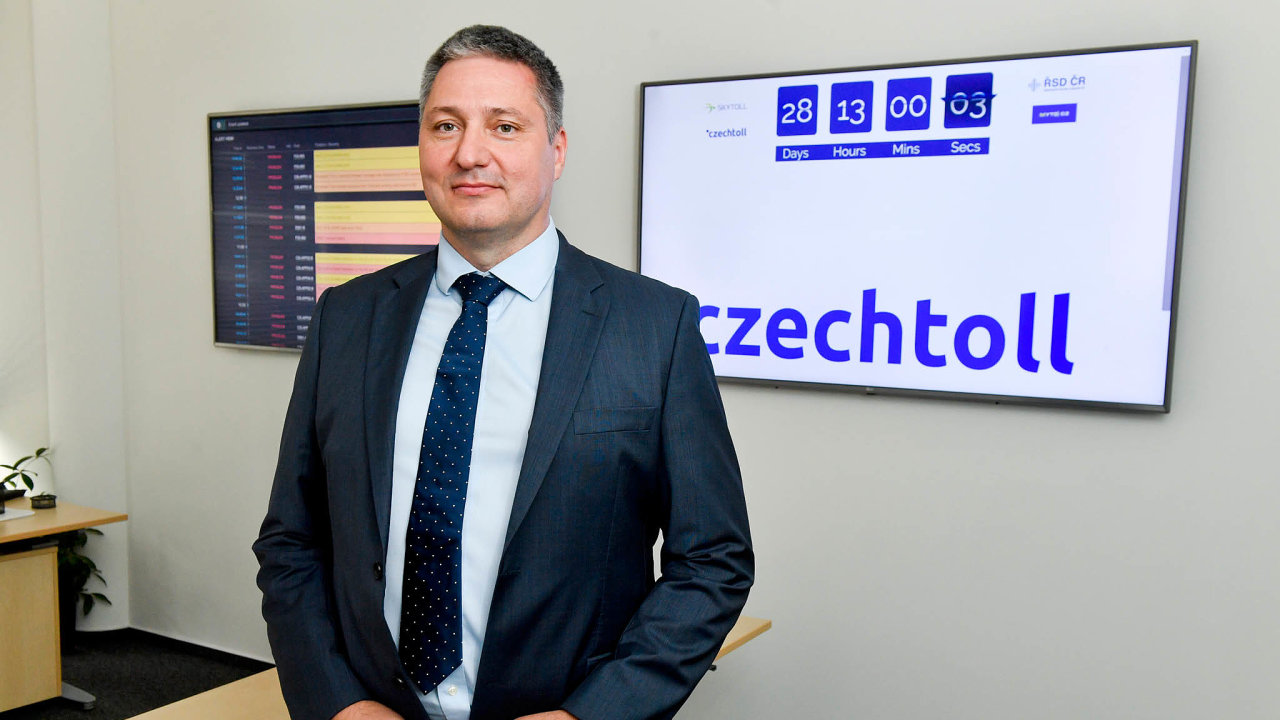 Generální ředitel společnosti CzechToll Matej Okáli vystoupil 19. července 2019 v Praze na briefingu po kontrolním dnu k přípravě mýtného systému, který má začít fungovat od 1. prosince.