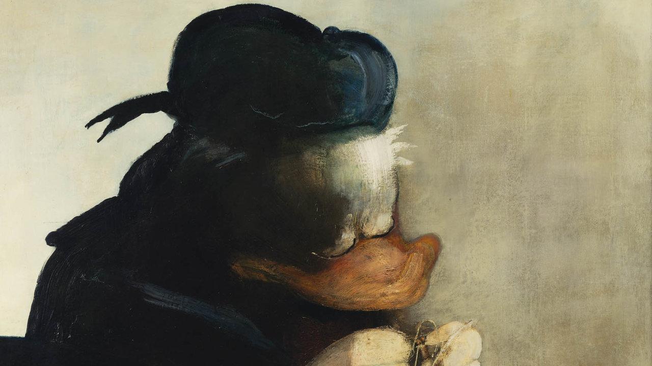 Olejomalba Bedřicha Dlouhého Krajkář zroku 1986 je ironickou parafrází Krajkářky odmistra nizozemského baroka Vermeera, avšak stváří kačera Donalda.