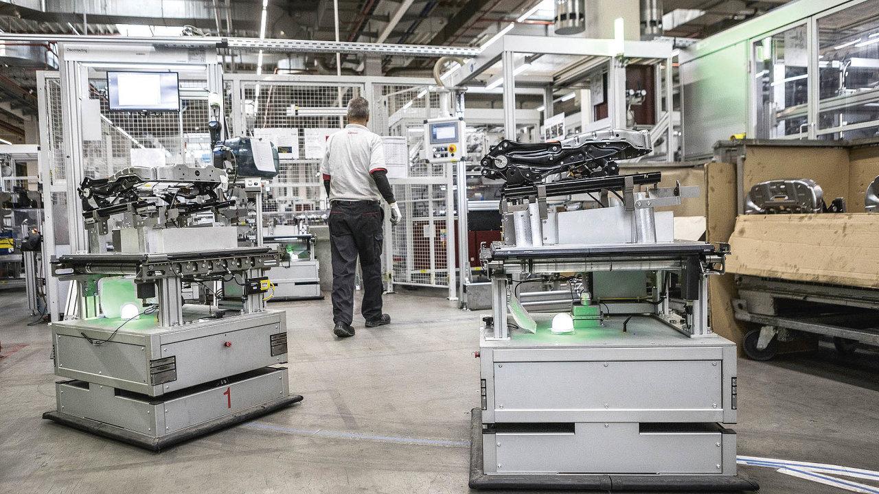 Výrobní linka sAGV (Automated Guided Vehicles– automaticky řízené vozíky) zvyšuje flexibilitu aergonomii pracoviště pro montáž sedadlových struktur.