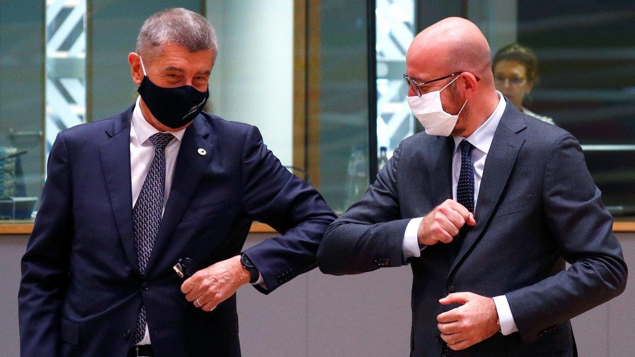 Předseda vlády Andrej Babiš (ANO) a šéf Evropské rady Charles Michel.